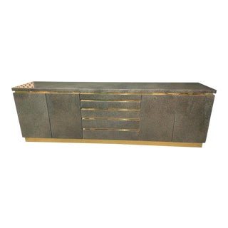 1970's J.C. Mahey Brass and Lacquer Sideboard For Sale