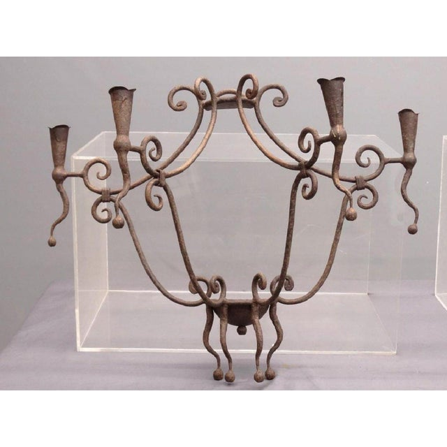 Monumental Gothic Iron Candle Sconces - A Pair For Sale - Image 5 of 6