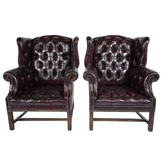 Pair of Traditional Chesterfield Leather Wingback Chairs For Sale