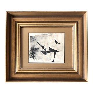 Original Vintage Small Abstract 1960's Wood Block Print Vintage Frame For Sale