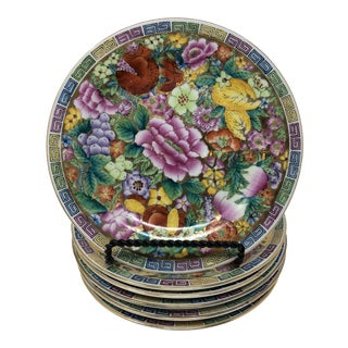 Chinese Gilded Mille Floure Salad Plates - Set of 6 For Sale