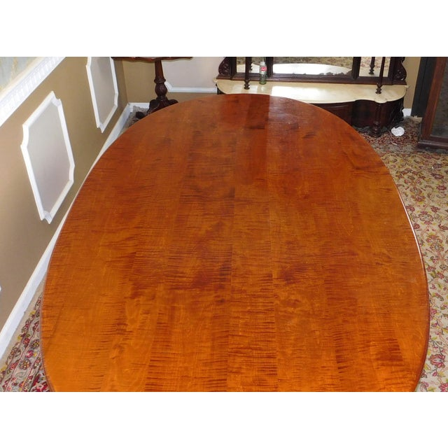 Tiger Maple Oval Country Dining Table - Image 10 of 10