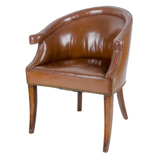 1930s English Traditional Leather Library Tub Chair