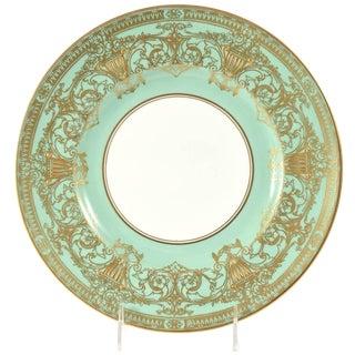 Set Ten Stunning Turquoise Elaborately Gilded Dinner/Presentation Plates For Sale