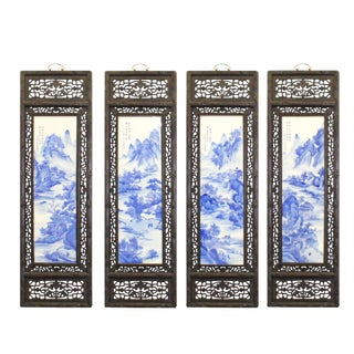 Chinese Mountain River Porcelain Blue & White Painting Wall Panel Set For Sale