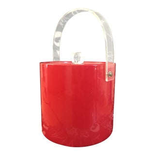Red Vinyl and Lucite Ice Bucket