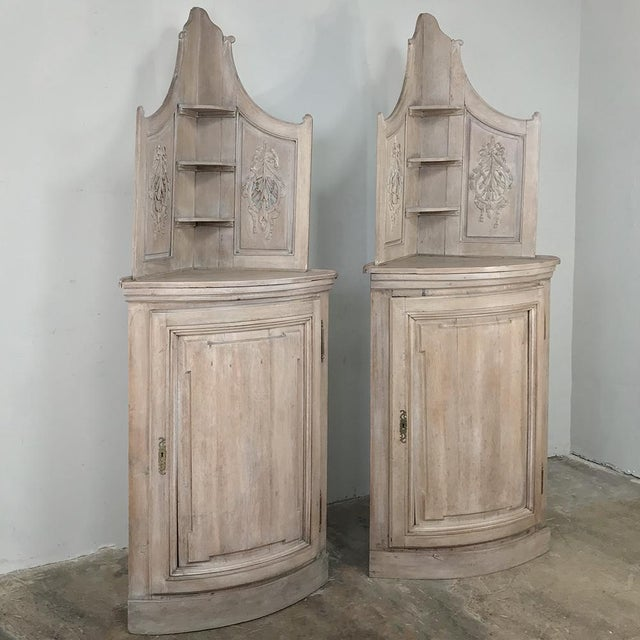 Country Pair 19th Century Country French Stripped Oak Corner Cabinets For Sale - Image 3 of 13