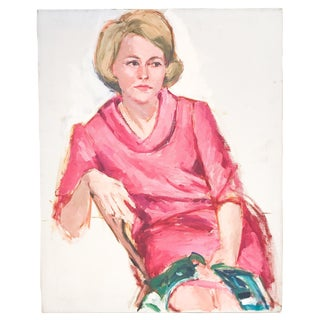 Mid Century Painting - Lady in Pink