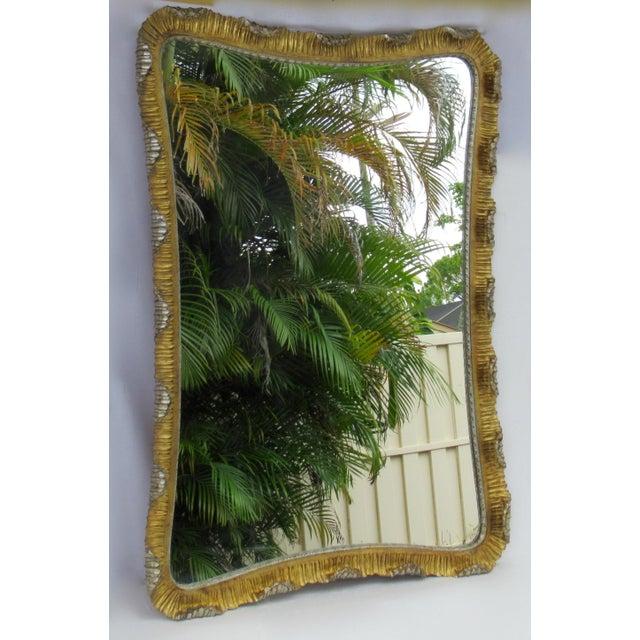 Hollywood Regency Vintage C.1963 Hollywood Regency, Italian Venetian Carved Gilt Gold & Silver Scalloped Mirror For Sale - Image 4 of 13