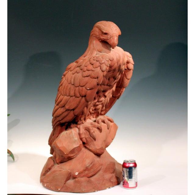American Golden Eagle Sculpture Large Painted Plaster Figure Signed For Sale - Image 10 of 11