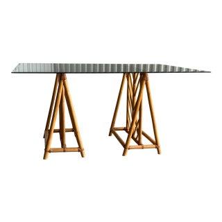 Vintage Bamboo Rattan Sawhorse Desk For Sale