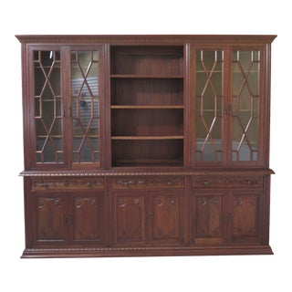 1960s Vintage Custom Made Walnut Breakfront Bookcase For Sale