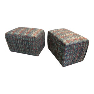 Custom Upholstered Poof Ottomans - Pair For Sale