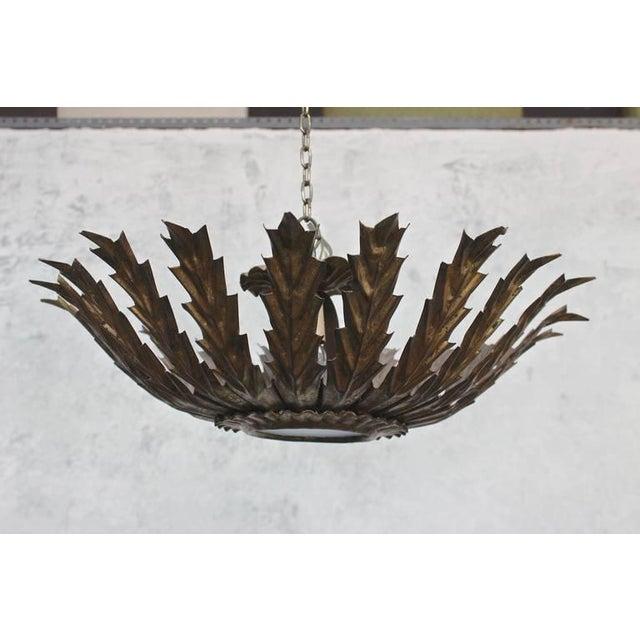 20th Century Spanish Gilt Metal Sunburst Ceiling Fixture - Image 7 of 10