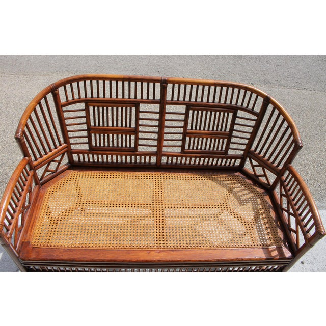 Burnt Umber Vintage Mid Century Bamboo Rattan Pavilion Brighton Chinoiserie Chippendale Caned Settee For Sale - Image 8 of 10
