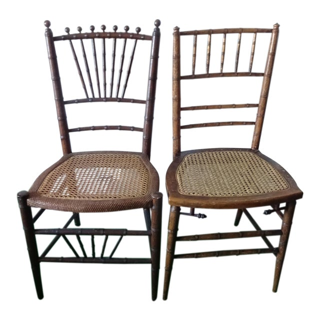 Late 19th Century Antique Faux Bamboo Side Chairs - Unmatched Pair For Sale