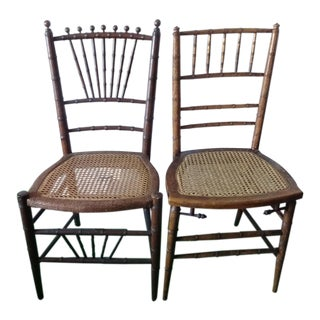 Late 19th Century Antique Faux Bamboo Side Chairs - Unmatched Pair Pair Local Pickup For Sale