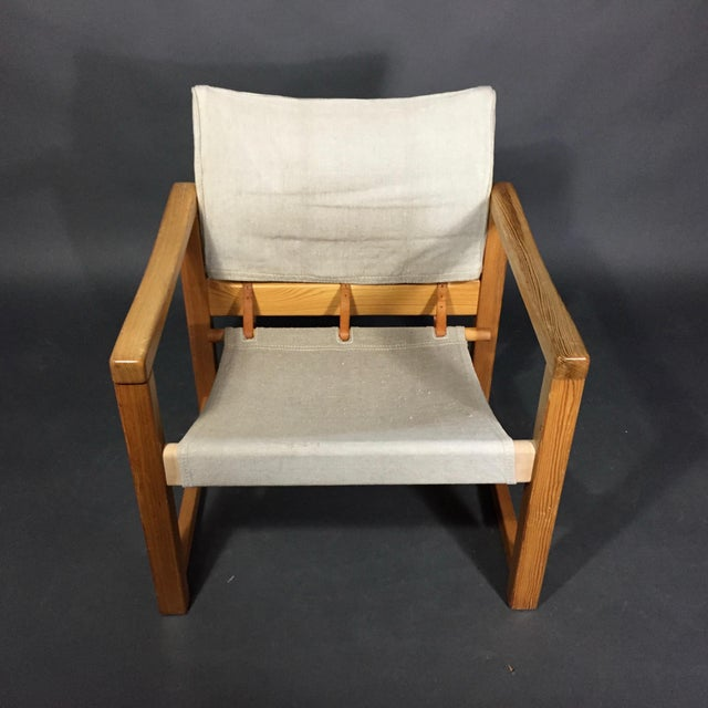 "Karin Mobring ""Diana"" Armchair, Pine & Canvas, Sweden 1970s For Sale - Image 11 of 12"