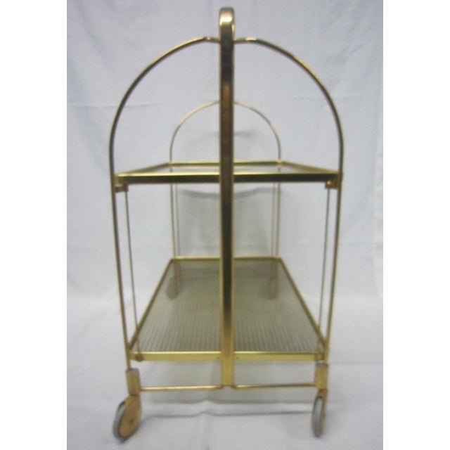 Gold Tone Folding Bar Cart - Image 5 of 5