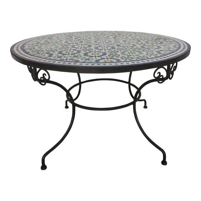 Moroccan Round Mosaic Outdoor Tile Table in Fez Moorish Design For Sale