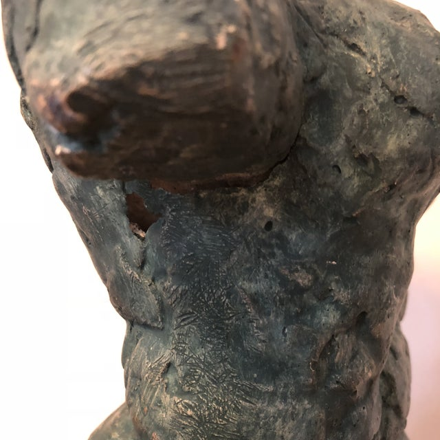 Mid-Century Verdigris Nude Bust Sculpture For Sale - Image 9 of 11