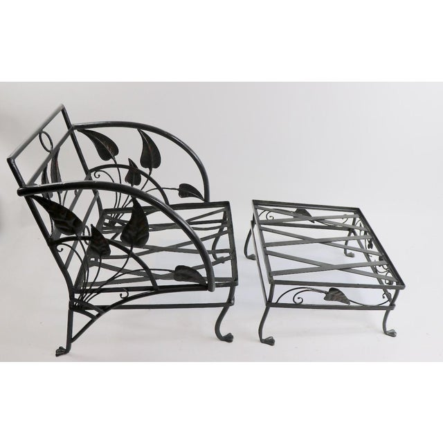 Hard to find banana leaf pattern lounge chair and ottoman by Salterini ( signed ). Chair dimensions as follows 28 deep x...