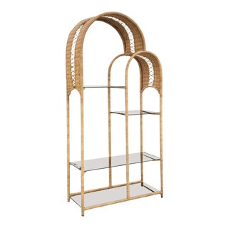 1970s Boho Chic Double Arch Rattan and Glass Shelf Etagere For Sale