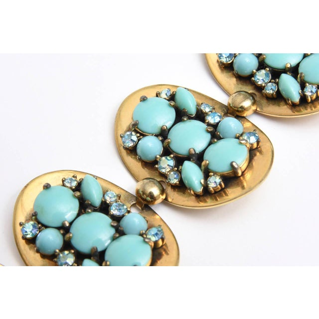 Schiaparelli 5-Disc Cluster Faux Turquoise and Rhinestone Bracelet For Sale - Image 10 of 11