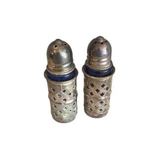Vintage Silver and Cobalt Salt & Pepper Set - 2 Available For Sale