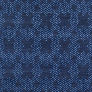 Schumacher Hix Embroidered Sisal Wallpaper in Blue For Sale