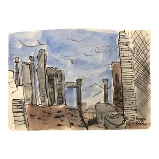 Ancient Ruin Architectural Watercolor For Sale