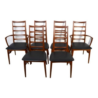 "Vintage Niels Koefoed for Koefoed Hornslet Danish Teak ""Lis"" Dining Chairs- Set of 6 For Sale"