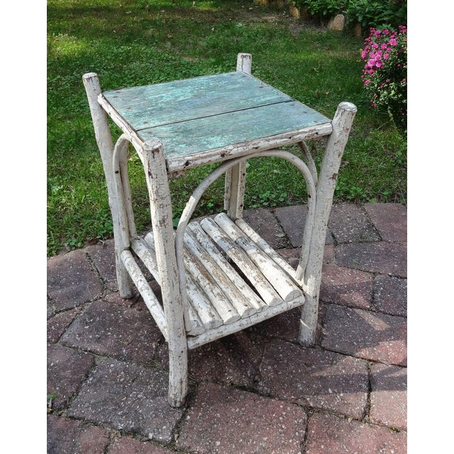 White Early 20th Century Rustic Adirondack Side Table For Sale - Image 8 of 8