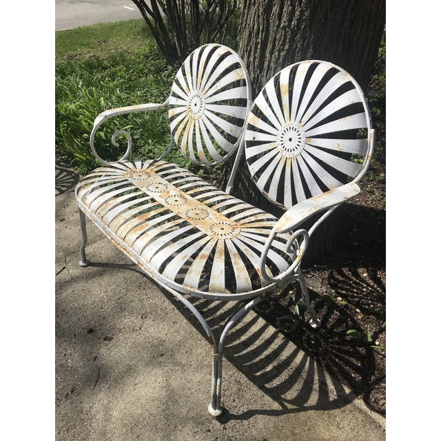 Mid 20th Century Francois Carre French Sunburst Garden Bench For Sale - Image 5 of 13