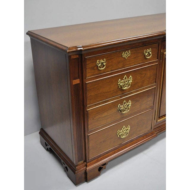Vintage Thomasville Chippendale Style Cherry Wood Triple Dresser Long Chest Credenza For Sale - Image 12 of 13