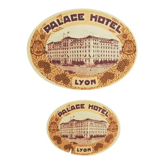 Palace Hotel Lyon France Vintage Luggage Labels - A Pair