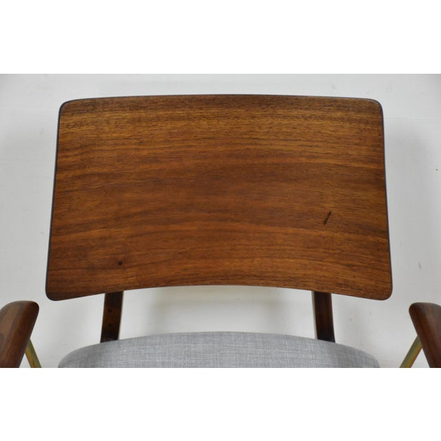 Walnut & Brass Occasional Chair - Image 4 of 11