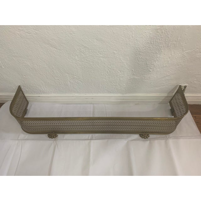 Vintage Brass Claw Foot Fireplace Fender For Sale - Image 4 of 13