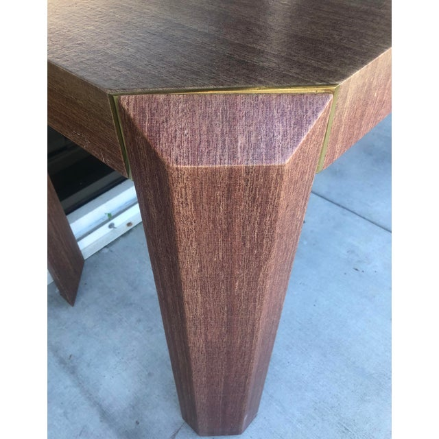 Mid-Century Modern Linen Covered & Brass Details Desk For Sale - Image 3 of 8