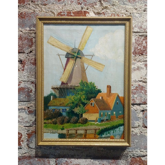 """C. Busch """"Dutch Windmill"""" Oil Painting For Sale - Image 10 of 10"""