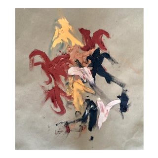 De Kooning-Style Abstract Oil Clay/Pastel on Paper 13 X 17 Unframed For Sale