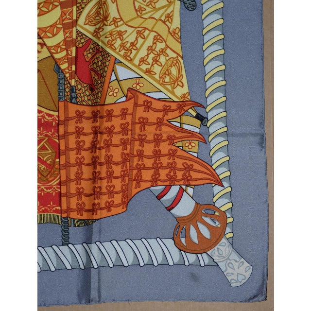 """Hermes, Paris - Silk Scarf A bright and colorful silk scarf showing banners and flags. Dimensions 35"""" x 35"""" The scarf is..."""