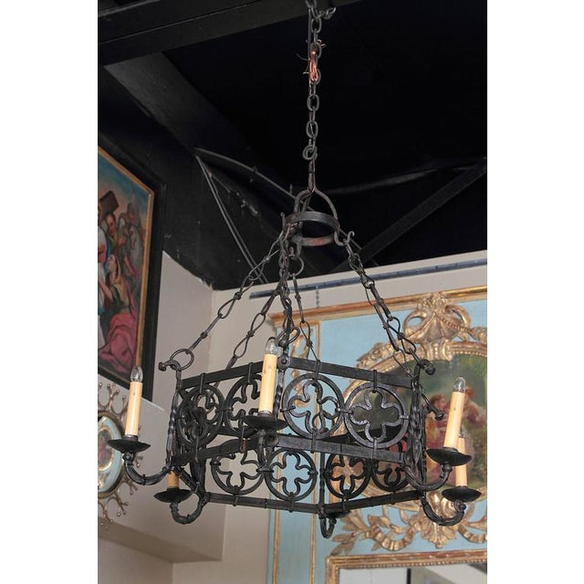 Add a rustic style to your home with this heavy, hand-forged chandelier from Southern France, circa 1870. Place the Gothic...
