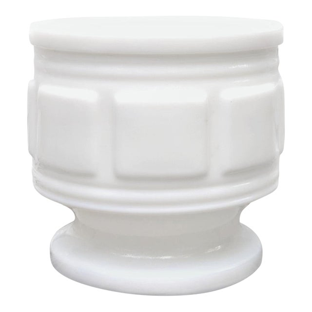 Vintage Mid Century Classical Style Milk Glass Pot For Sale