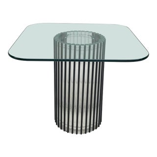 Vintage Post Modern Lucite and Glass Side Table For Sale