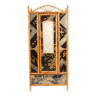 1930s Chinoiserie Decorated Bamboo Armoire For Sale