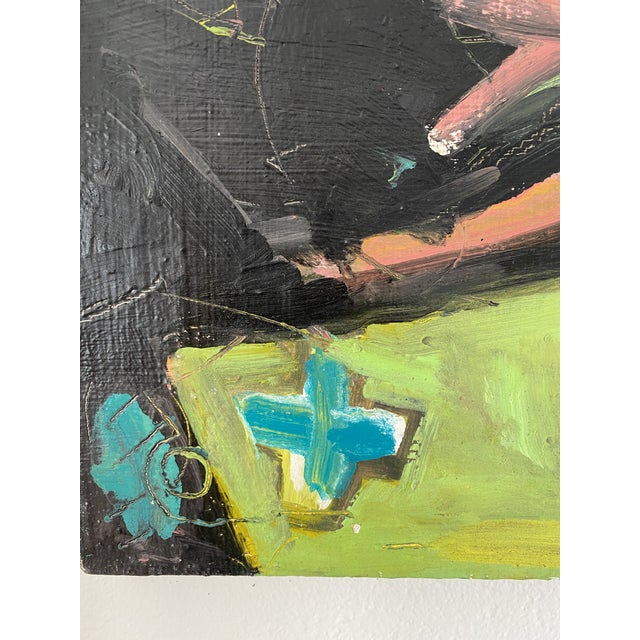 This bold post modern abstract oil features a bright color palate balanced against a black field. Shades include yellow,...