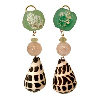 Roman Glass and Shell Earrings For Sale