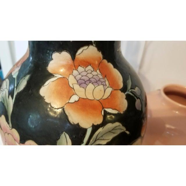 Vintage Asian Black and Pink Floral Porcelain Table Lamp For Sale - Image 10 of 13