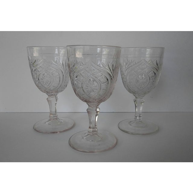 Elegant and gorgeous antique water goblets. These are eapg, civil war era, 1860s 70s. Fabulous cut glass pattern, I do not...